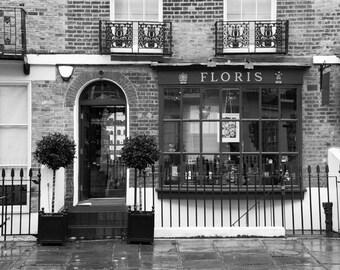 London Photography, Black and White, Floris, Fine Art Print, British Decor, Bathroom Decor, Bedroom Decor, Wall Art