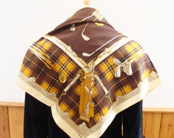 Italian Golf Scarf Oversize Scarf Vintage Brown, Gold, Cream