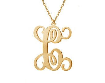 """Gold One Letter Necklace,Single Initial Necklace,Personalized Initial Necklace,1"""" inch One Letter Necklace-%100 Handmade"""