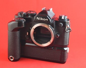 Nikon FM camera body and MD 12 winder