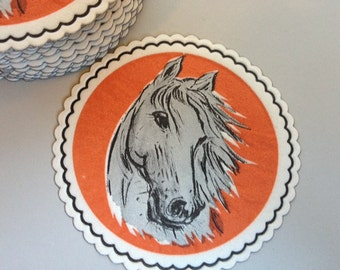 Vintage Embossed Paper Coasters with Horse Motif- Set of 22