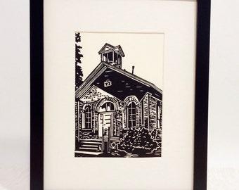 "Schoolhouse handmade linocut print 5x7"", unframed (soft white) - home decor, wall art, birthday gift, holiday gift, teacher gift"