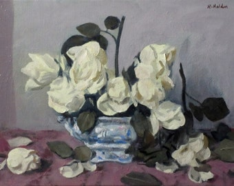 Roses in Blue and White Porcelain, Oil on Canvas, 12 by 16 in., Unframed