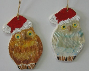 Owl Christmas Ornament, Handmade Ceramics by Karlene Voepel.  Sold individually.