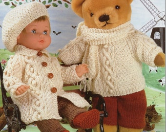 Dolls Knitting Pattern Teddy knitting pattern dolls clothes dolls patterns dolls outfits baby dolls 12-22 inch doll DK PDF instant download