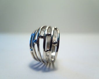 Fantasy sterling silver ring-Hand made-Solid Silver 925 Ring size 6 US-READY to SHIP!