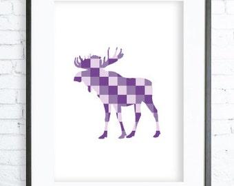 Purple Moose print Art, Instant Download Printable, Christmas  printable art, Print Art, Moose Wall Decor, Moose Art Print