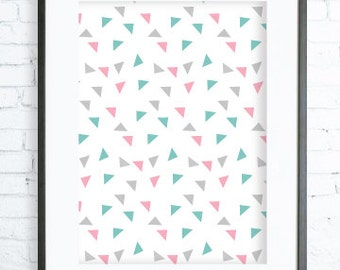 Turquoise and Pink Triangles Pattern, Modern Art Prints, Home Decor, Bedroom Art, Dining Room Art, Pink & Grey Wall Art