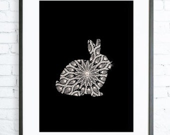 Rabbit Poster, Lace, Instant Download Printable, Print Art,  Modern Art Print, Rabbit art, Rabbit print, black and white graphic art print