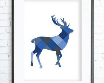 Blue Deer Print Art, Instant Download Printable, Christmas deer printable art, Print Art, Deer Wall Decor, Deer Art Print, office artwork