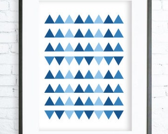 Blue Triangles Pattern, Blue Triangles printable art, Print Art, Triangles Decor, Blue Art Print, office artwork