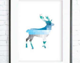 Geometric Deer Blue Print, Blue Deer Print Art, printable deer art, Print Art, Deer Wall Decor, Deer Art Print, office artwork