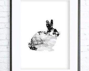 Animal Decoration print, Rabbit Print, Animal Wall art Decor, Easter art, Easter home decor, Easter Prints, Easter Gift, Easter rabbit print