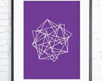 Geometric Triangle Print, Purple Printable art, Purple Triangles, Print Art, modern art, Geometric art, triangles print