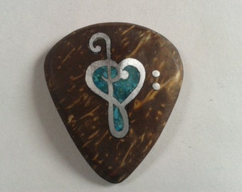 guitar pick necklace/plectrum with turquoise inlay,gift ideas,renovatiodesign,HCECJ5f