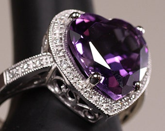 5.25 CTW Diamond & Heart Shaped Amethyst Engagement Ring in Solid 14K White Gold, 12mm x 12mm Amethyst