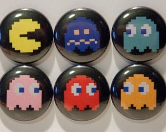 """Set of 6 Pacman 1"""" Pinback Buttons"""