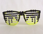 Digital Age - Embellished Glasses Party Disco Club Shutter Shades Fluorescent