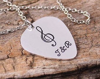 Personlaized Guitar Pick Necklace - Initials Name Guitar Pick - Alloy Guitar Pick Necklace - Wedding, Anniversary gift