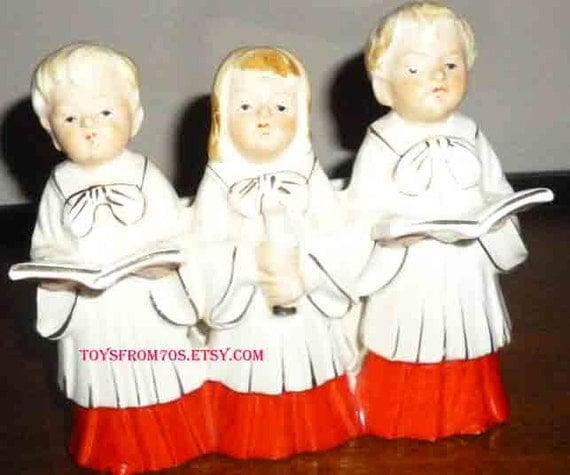 Vintage Ceramic Christmas Carolers Choir Boy And Girl: Vintage Christmas Choir Trio Ceramic Figurine By Toysfrom70s