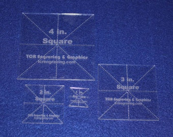 """4 Piece Square Set 1"""", 2"""", 3"""" ,4"""" 1/8"""" Clear Acrylic - Quilting Templates- No seam."""