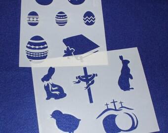2 Piece Set -Mylar 14 Mil Easter Stencils Painting/Crafts/Stencil