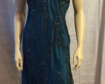 Beautiful Scala strapless beaded silk halter tied neck dress size Medium