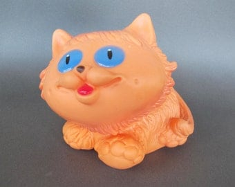 Soviet Rubber Cat, Vintage Russian Rubber Kitty Toy, Made in USSR. Collectible