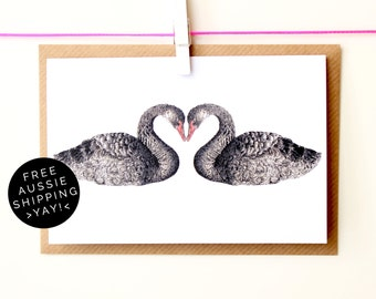 Black Swans Greeting Card - Illustrated Blank Card - 100% Recycled - From TheWildGooseProject