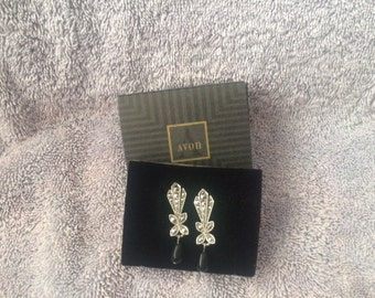 Vintage Avon Heirloom Pierced Earrings with surgical steel posts New in Box