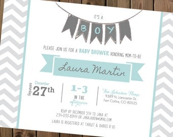Banner Baby Shower Invite Blue and Grey Chevron, Printable Digital File_46