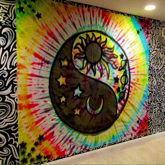 Handmade Large Yin Yang Sun And Moon Tie Dye Tapestry