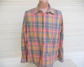 SALE Plaid Dress Shirt Pink Plaid Button Down Shirt Bullock & Jones Viyella . XL
