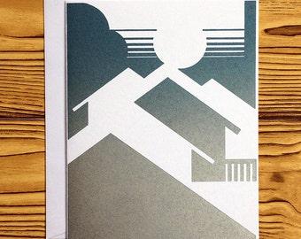 LETTERPRESS NOTECARD: Blue/Silver House