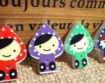Little Red Riding Hood matryoshka use 8 x buttons as template