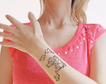 Origami tattoo etsy origami map temporary tattoo set of 2 gumiabroncs Gallery