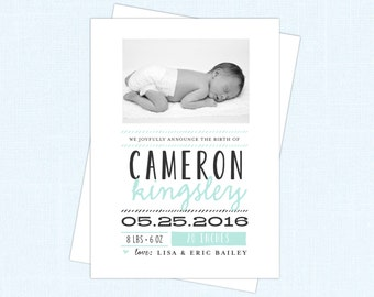 Modern Cyan / Blue Photo  Baby Birth Announcement Card