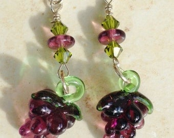 Glass Grape cluster earrings w crystals and Czech glass