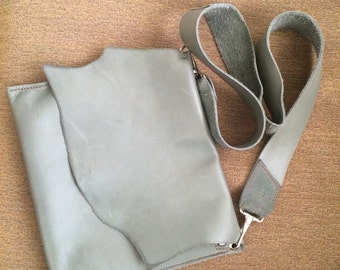 Grey leather handbag purse with greenish undertones