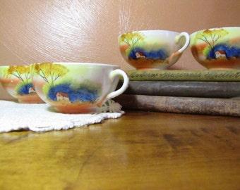 "Set of Four (4) Vintage Noritake Hand Painted ""Tree in Meadow"" Large Teacups"