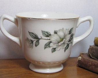 Vintage Homer Laughlin Double Handle Sugar Dish - Dogwood Pattern