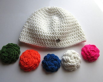 crochet accessories, changeable flower, beanie with flower, detachable flower, changeable beanie, hat girls changeable, winter women beanie