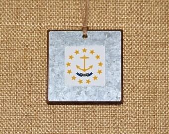 Ornament ~ RI State Flag, Hope, Anchor, Rhode Island, Christmas Ornament, Galvanized Metal, Framed Ornament, Holiday, Gifts, Teacher Gift