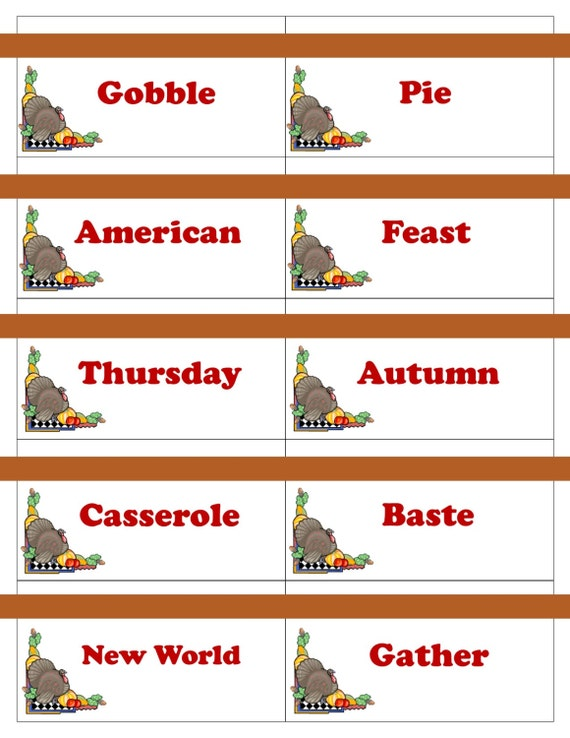 Printable thanksgiving game cards for pictionary charades hangman