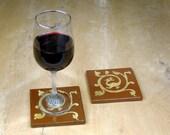 2 Ceramic Coasters with original medieval dragon design