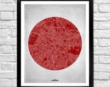 Paris City Street Map Art Print