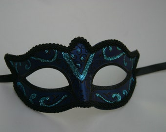 Turquoise, Blue and Black Masquerade Mask