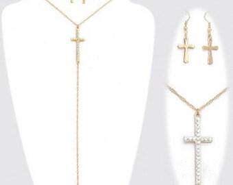 Cross Fringe Necklace & Earrings