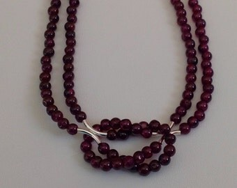 Garnet Love Knot Necklace with Sterling Silver Accents and Clasp