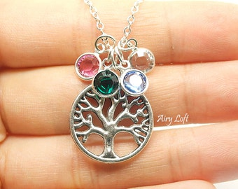 Mother's day- Family Tree Necklace, Grandma necklace, Mother's Necklace, Family tree Birth stones. Grandmother gift. Gift for Mom- Mom gift